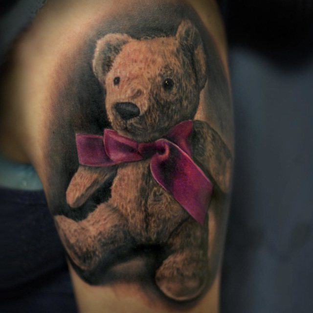 tattoo teddy bear with bow-tie