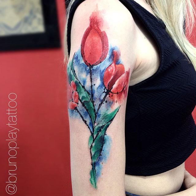 shoulder tulip tattoo watercolor