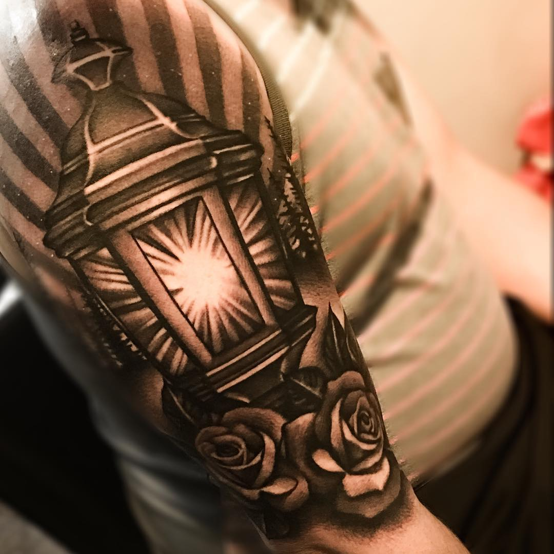 graphic lantern tattoo