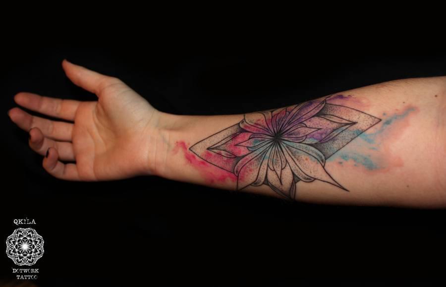 mandala dotwork watercolor tattoo
