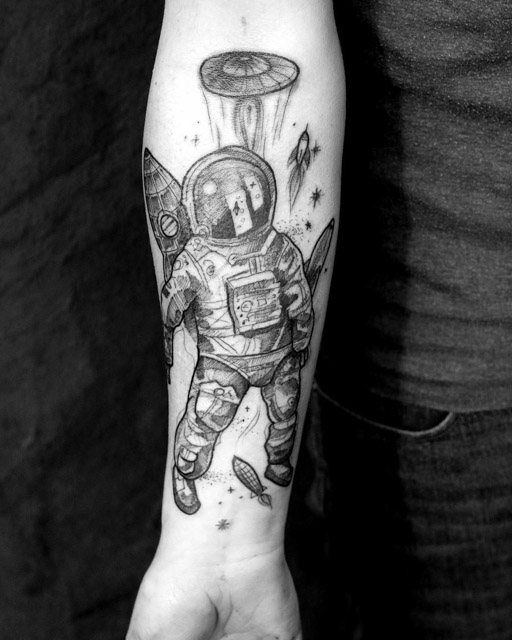 sketchy tattoo astronaut