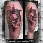 Bird and Skull Trash Polka Tattoo