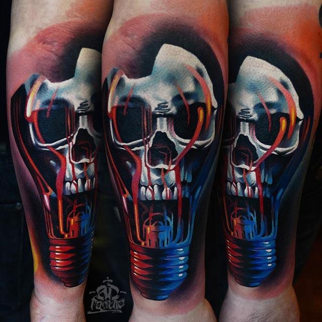 skull tattoo in a bulb