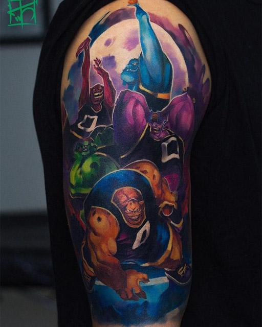 new school tattoo on shoulder