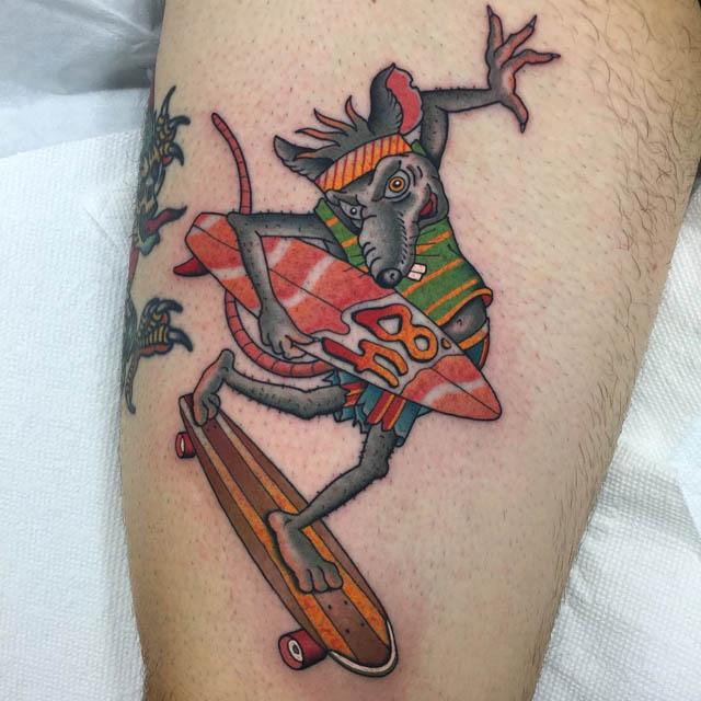 rat tattoo new school
