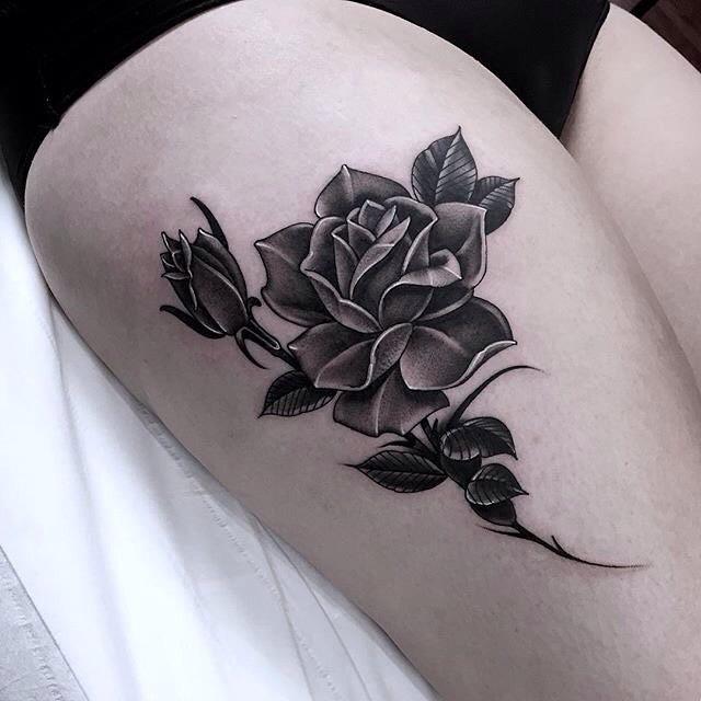 grey tattoo rose