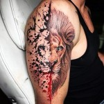 Half Watercolor Lion Tattoo