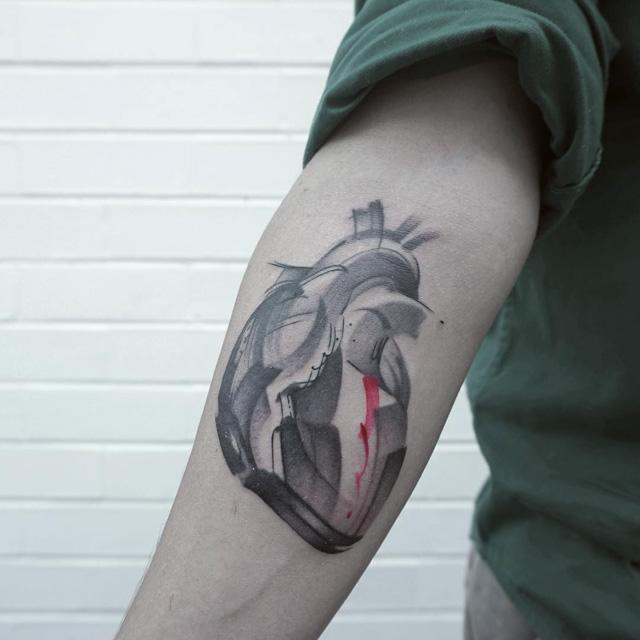 arm heart tattoo