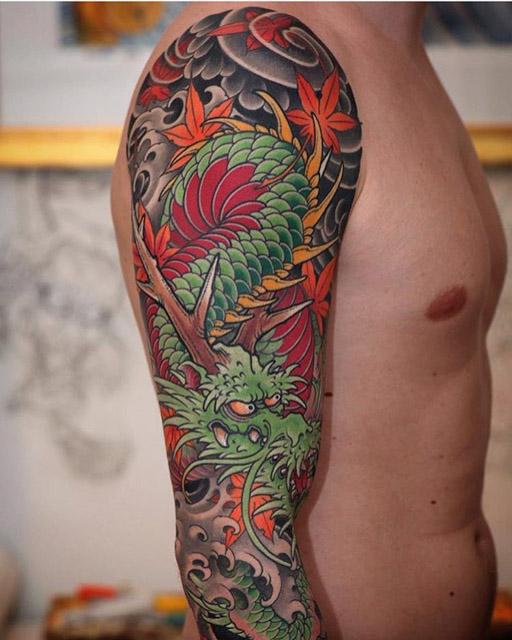 dragon sleeve tattoo japanese