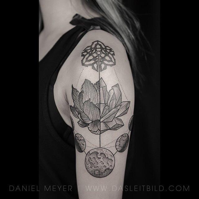 lotus tattoo with moon