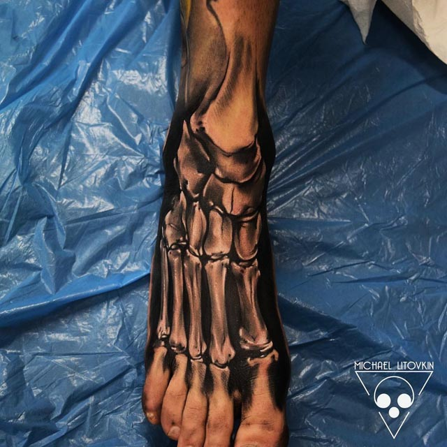 anatomical skeleton tattoo foot
