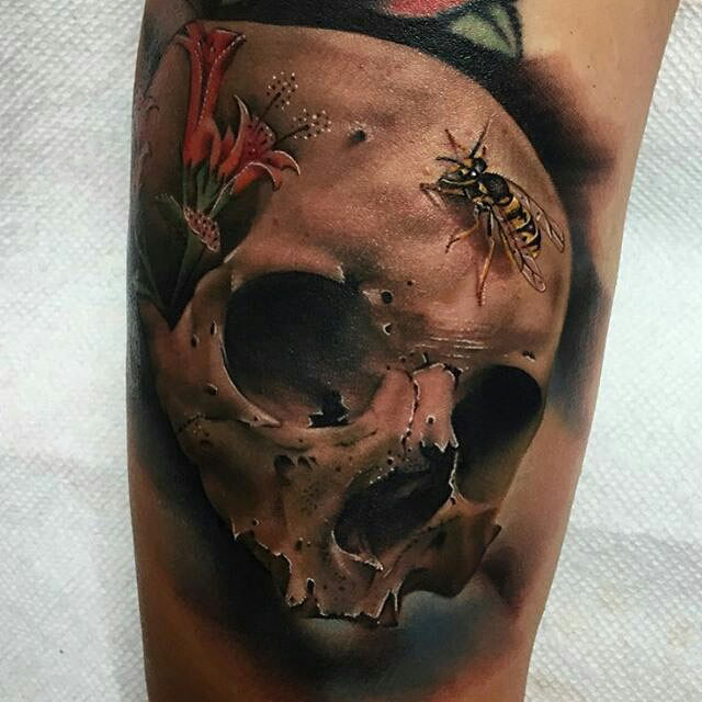 real skull tattoo with bugs