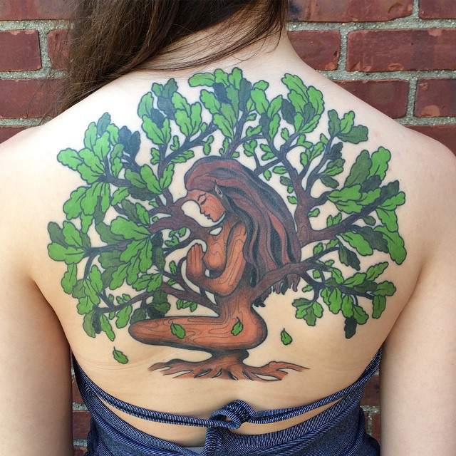 full back oak tree tattoo by Liana Joy