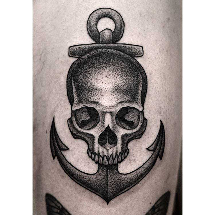 anchor skull tattoo nautical