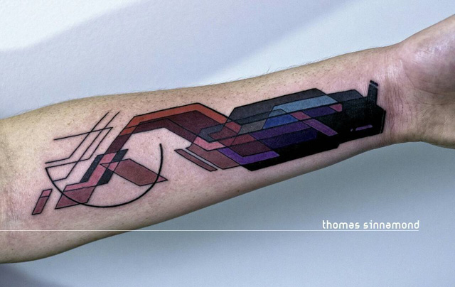 abstract geometry arm tattoo