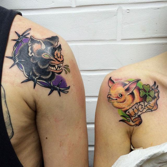 new school bats couple tattoos
