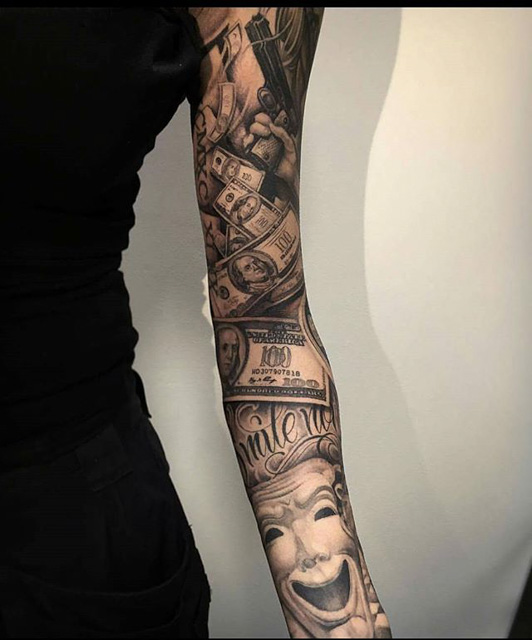 sleeve chicano tattoo money