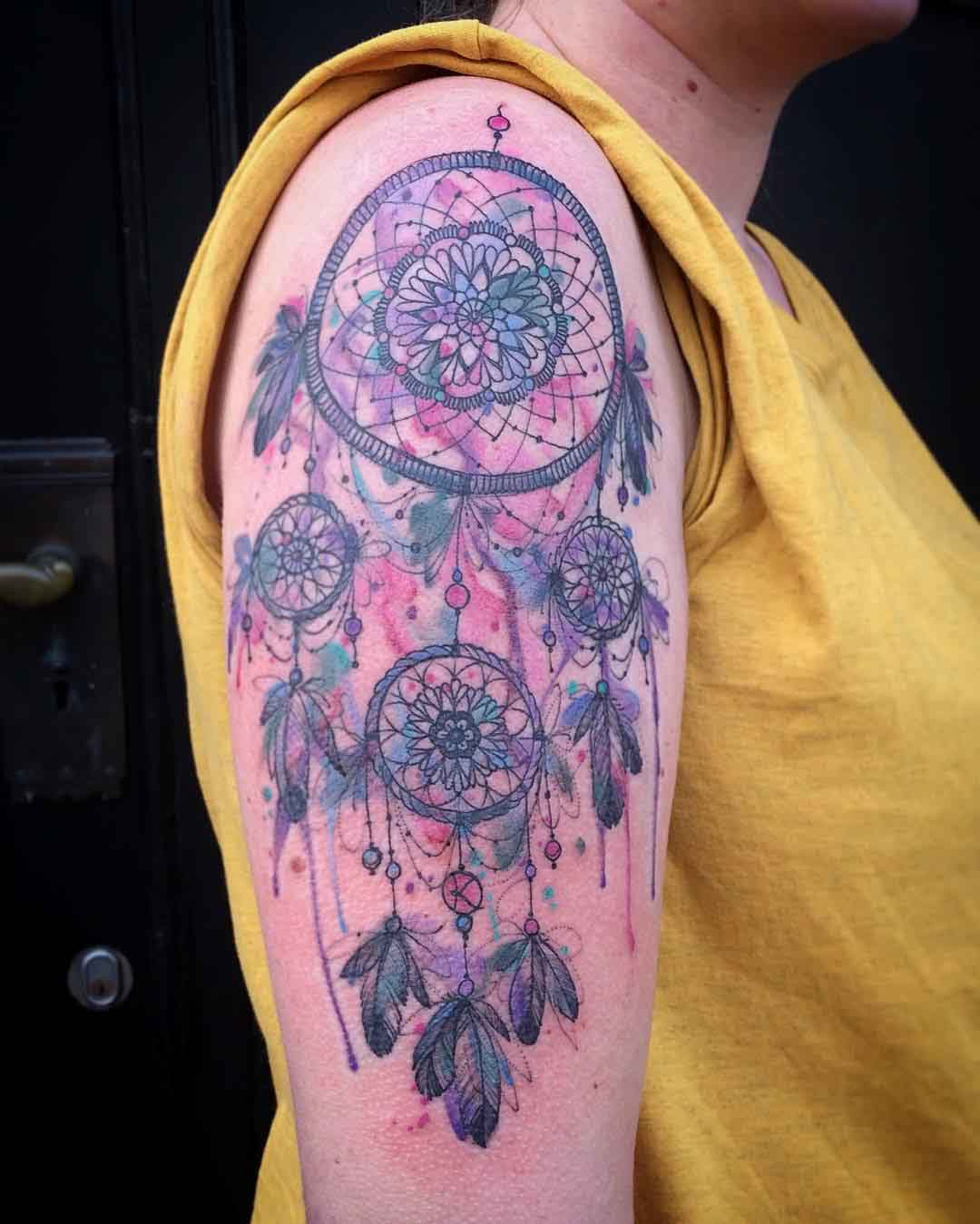Shoulder dream catcher tattoo