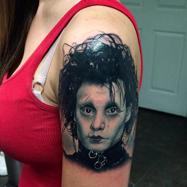 Shoulder Edward Scissorhands Tattoo portrait