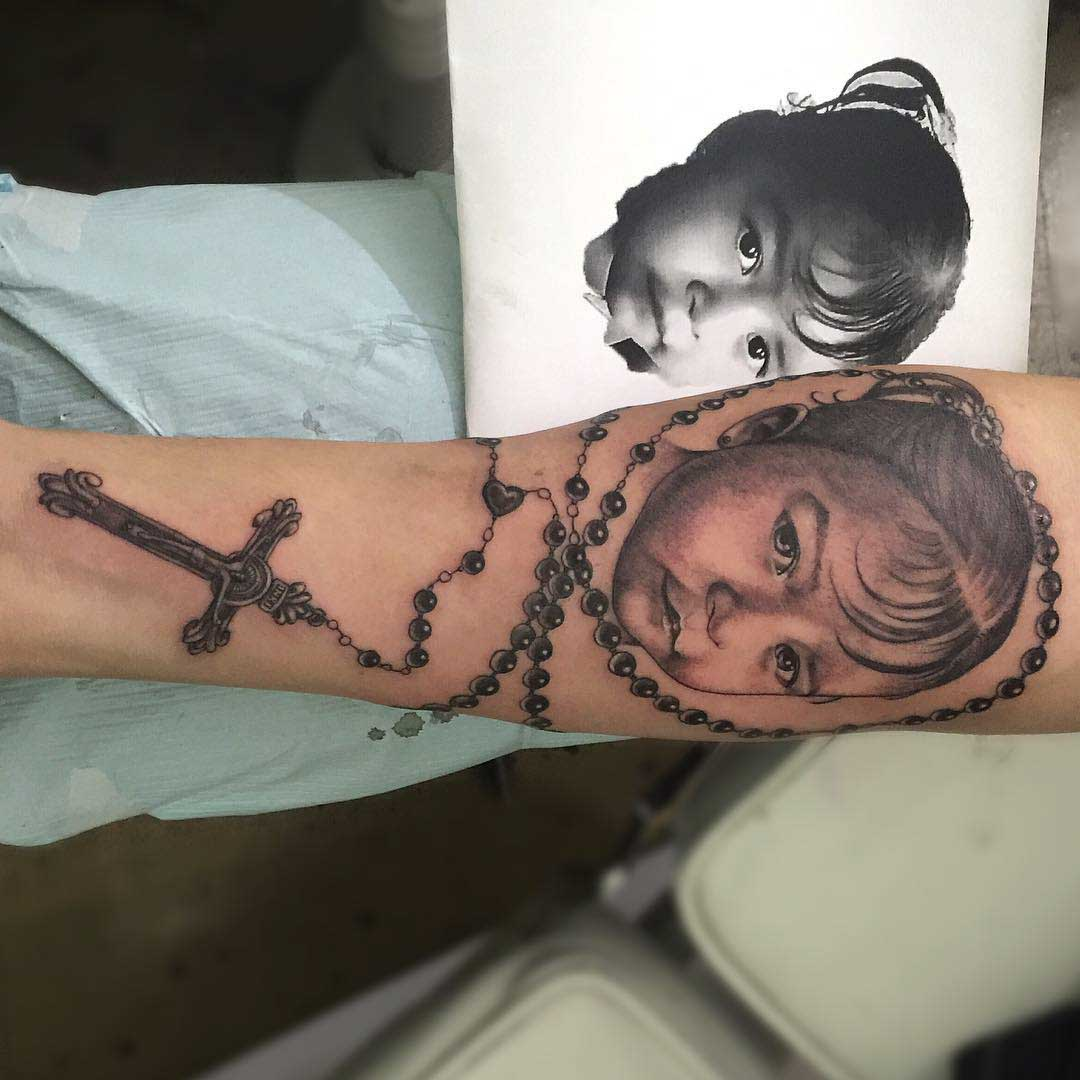 rosary kid portrait tattoo
