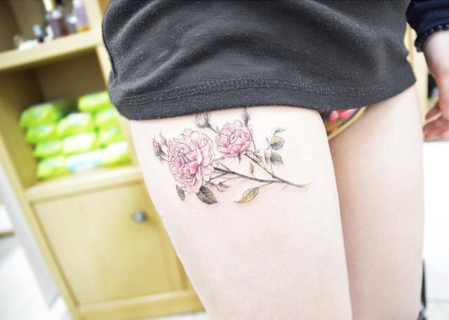 thigh tattoo flower peony