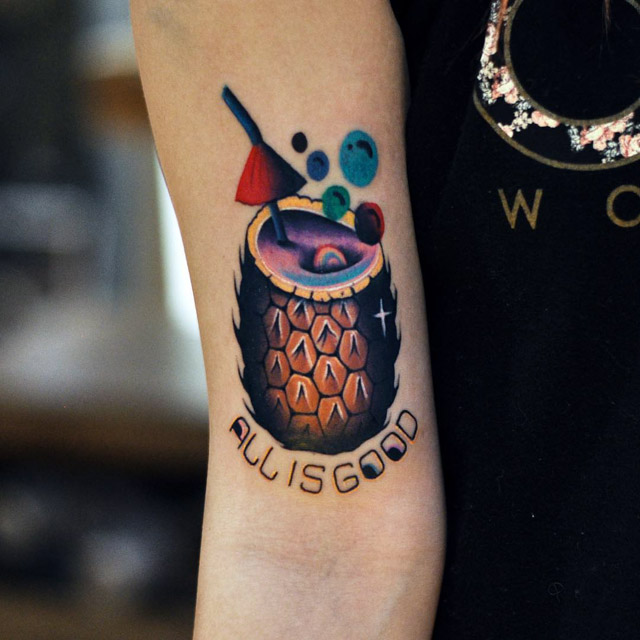 lettering pineappla cocktail tattoo