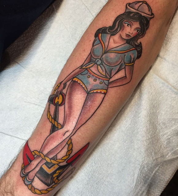 forarm girl sailor tattoo