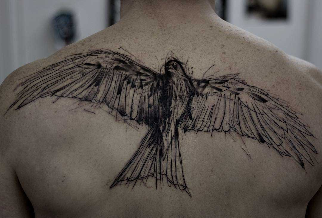 back tattoo hawk