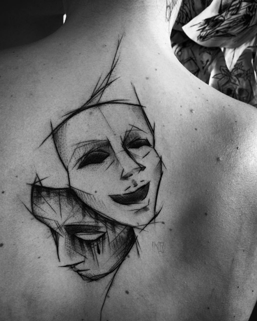 sketchy theatre masks tattoo