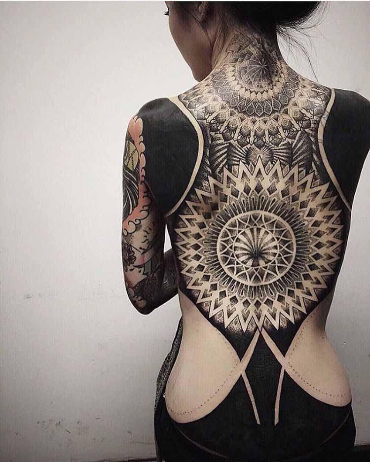 full back tattoos girl