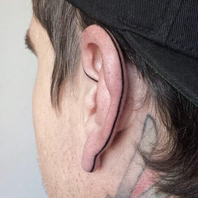 Back of Ear Tattoo by @cosmic.karma