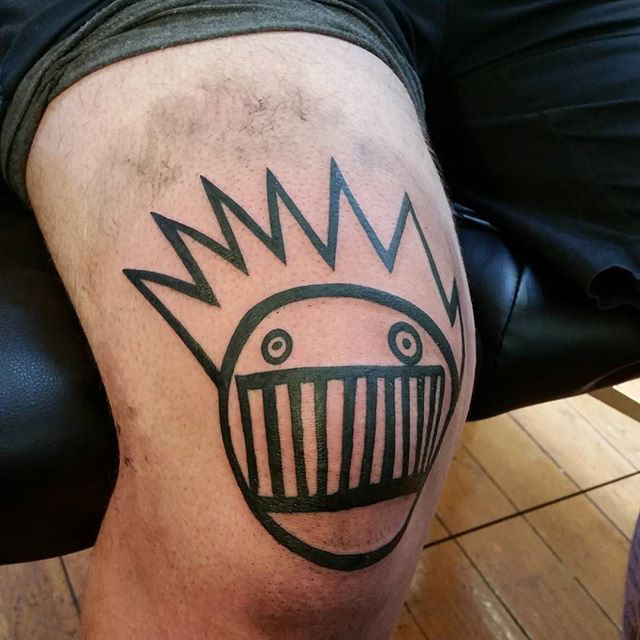 Black Lines Face Tattoo on Knee by dangerdave85