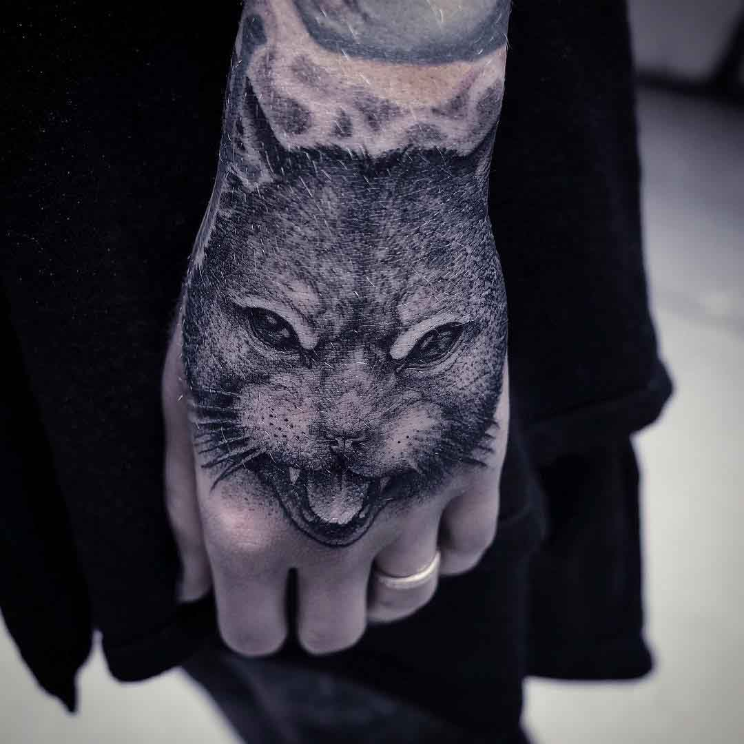 Hand tattoo Cat