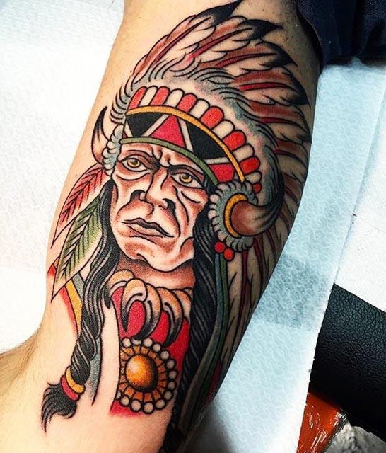 Chief Indian Tattoo by Francesco Schiavi