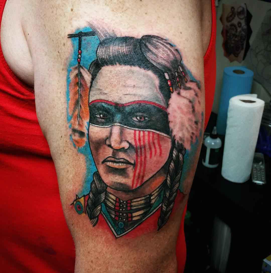 indian warrior tattoo watercolor