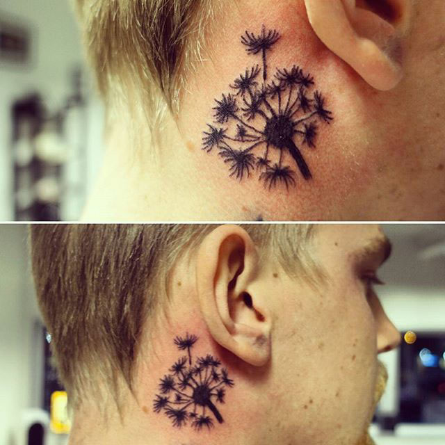 Dandelion Tattoo Behind Ear