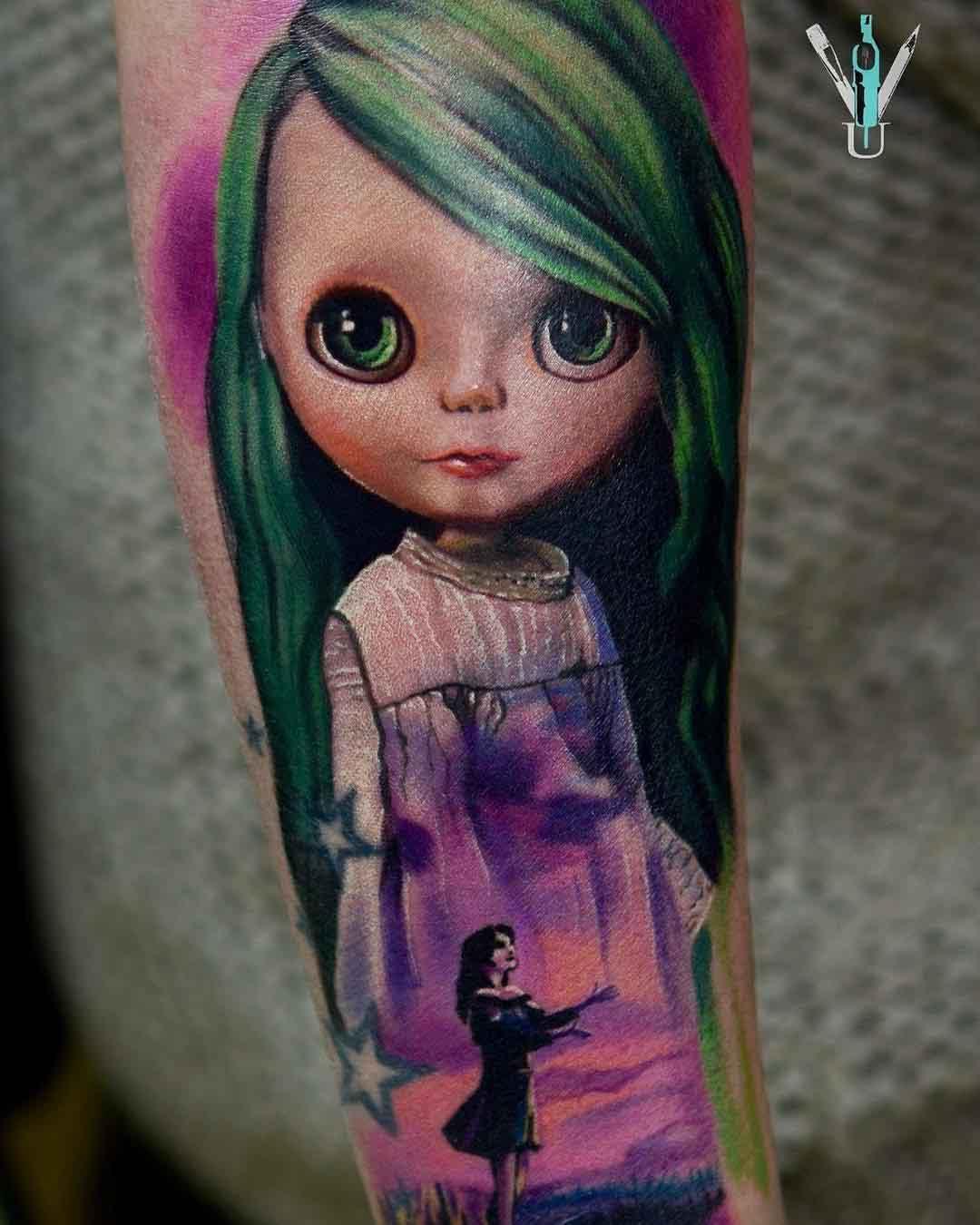 pink dress tattoo doll