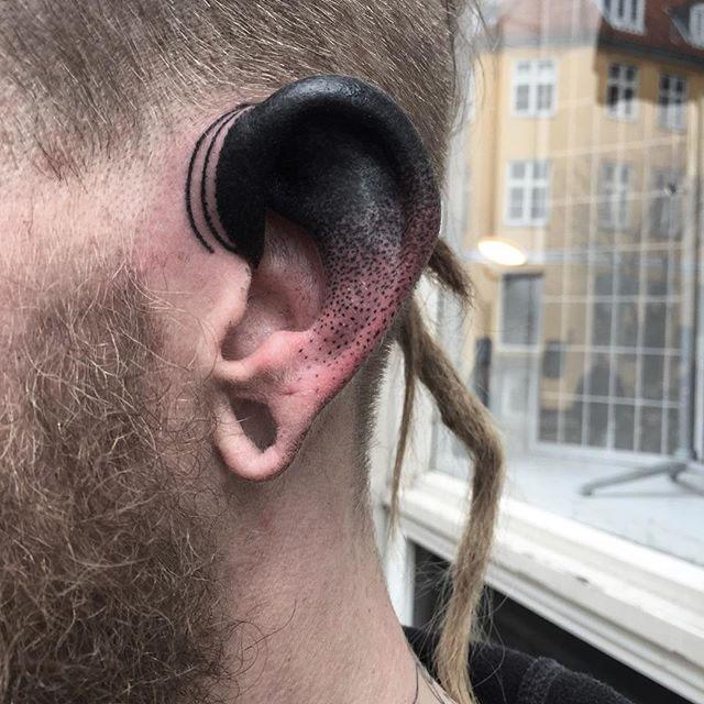 Dotwork Ear Tattoo by baxtattoo
