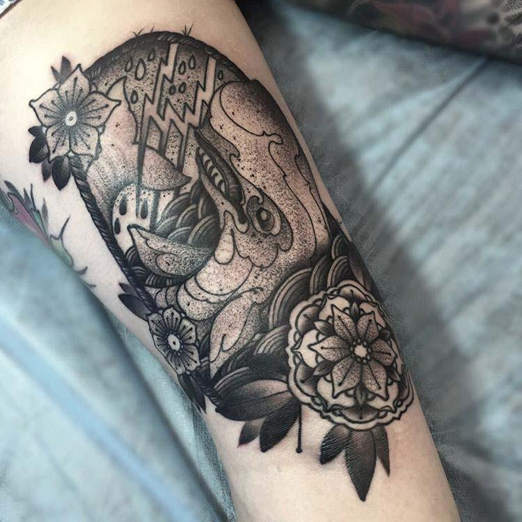 dotwork whale tattoo nautical