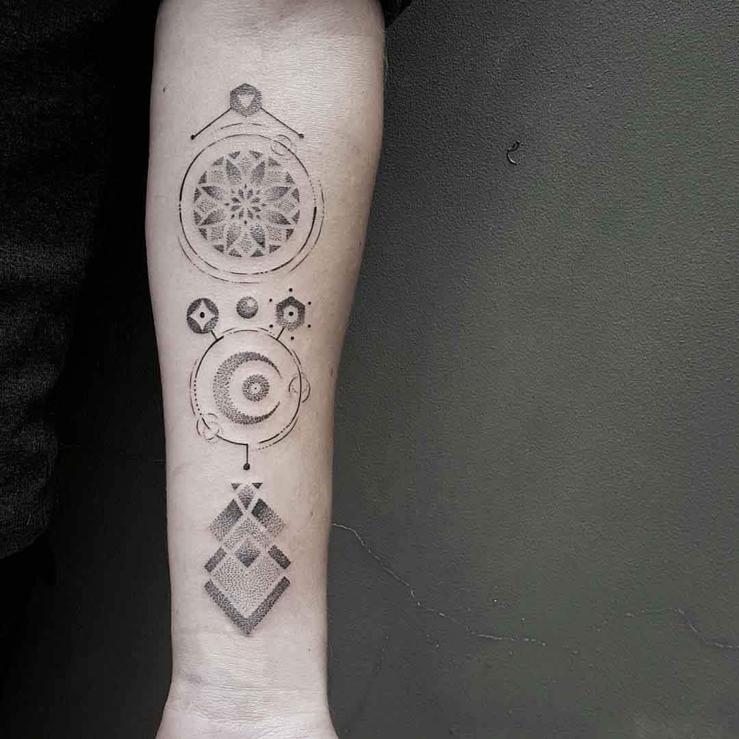 arm signs dotwork tattoo