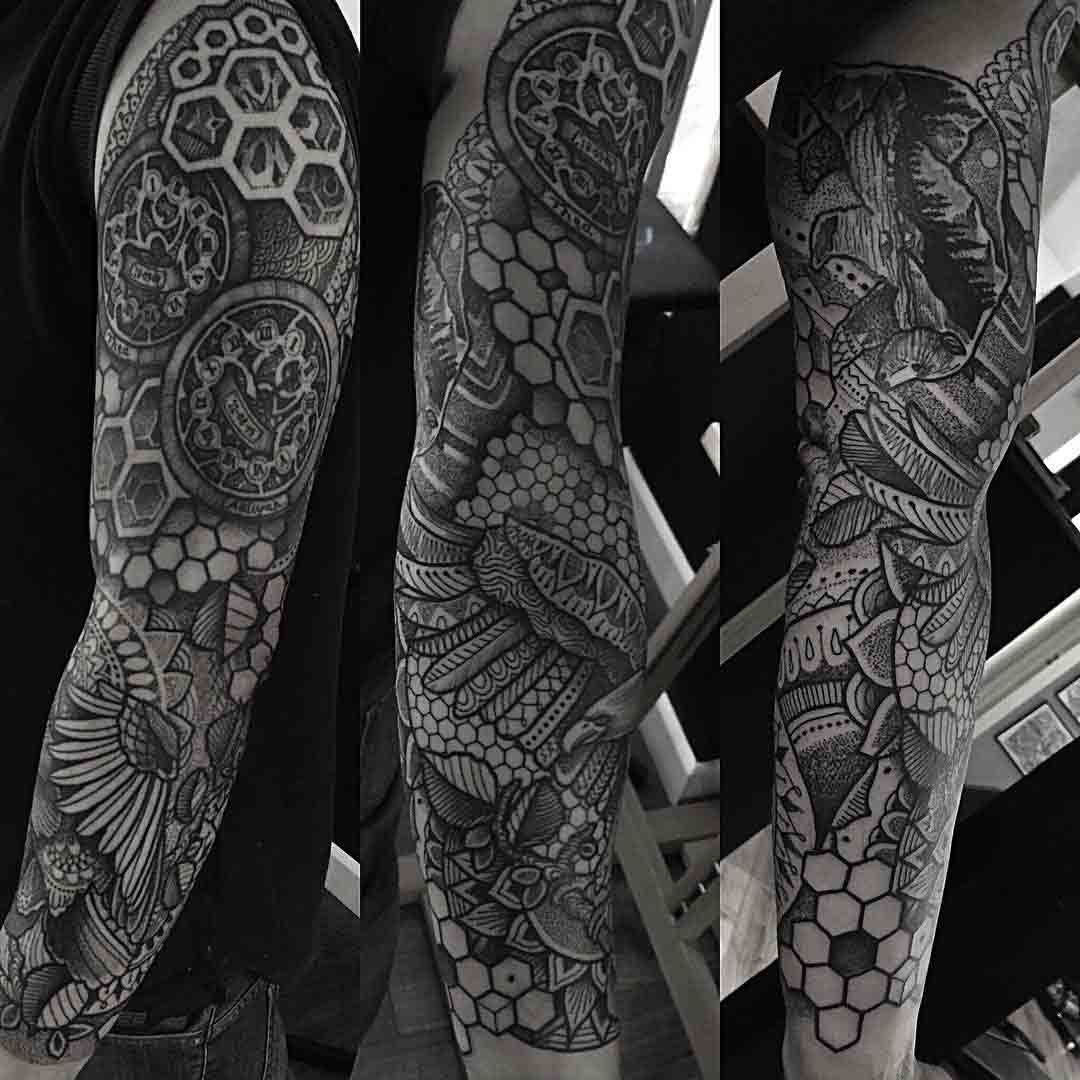cool dotwork tattoo sleeve
