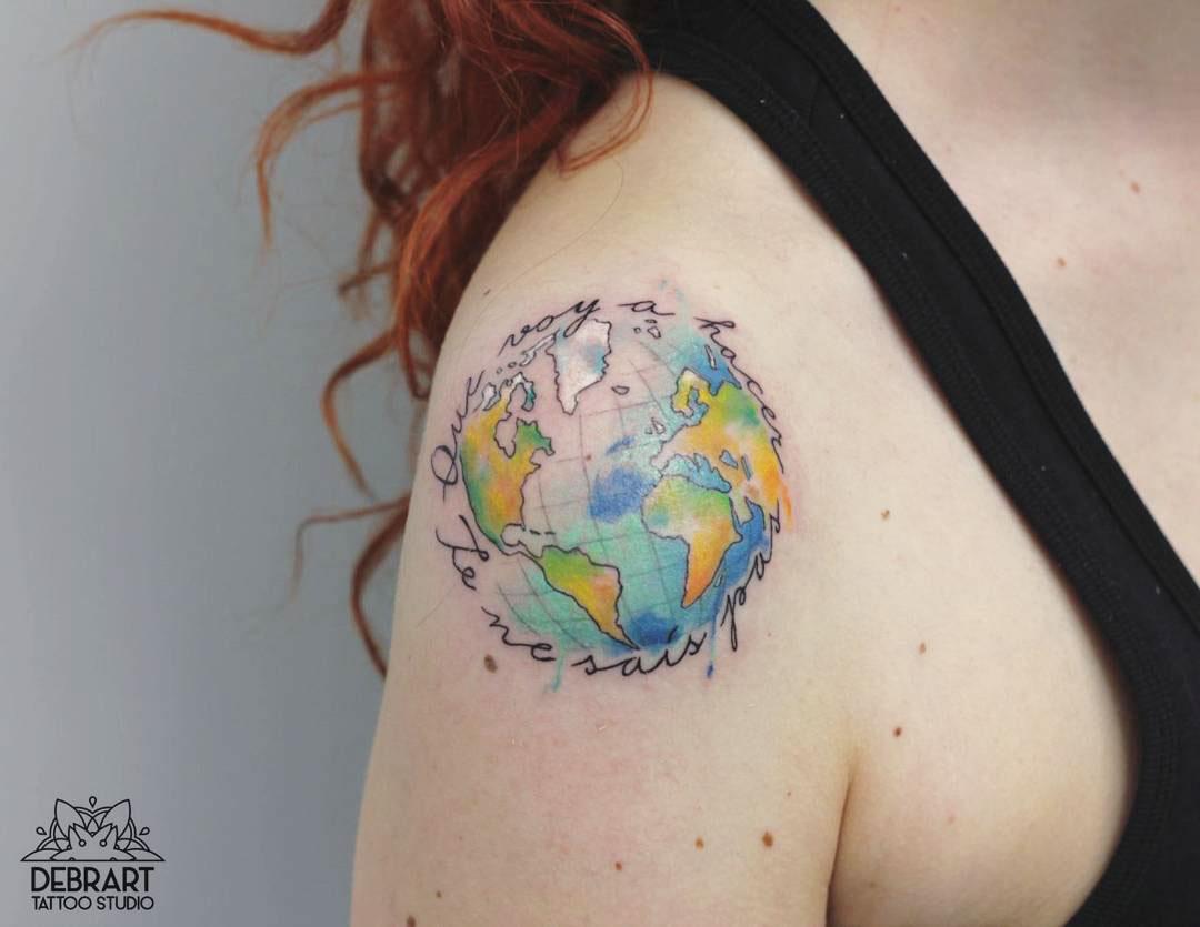 cute Earth tattoo on shoudler
