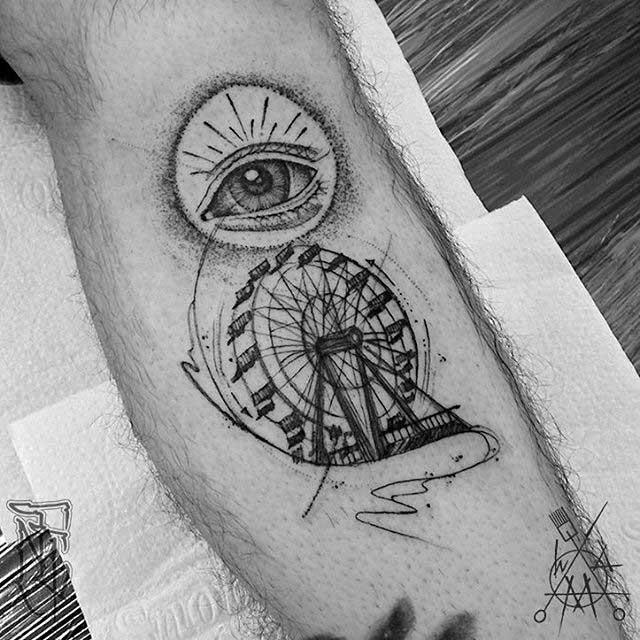leg tattoo ferris wheel