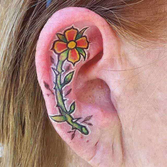 Flower Tattoo Ear Cartilage