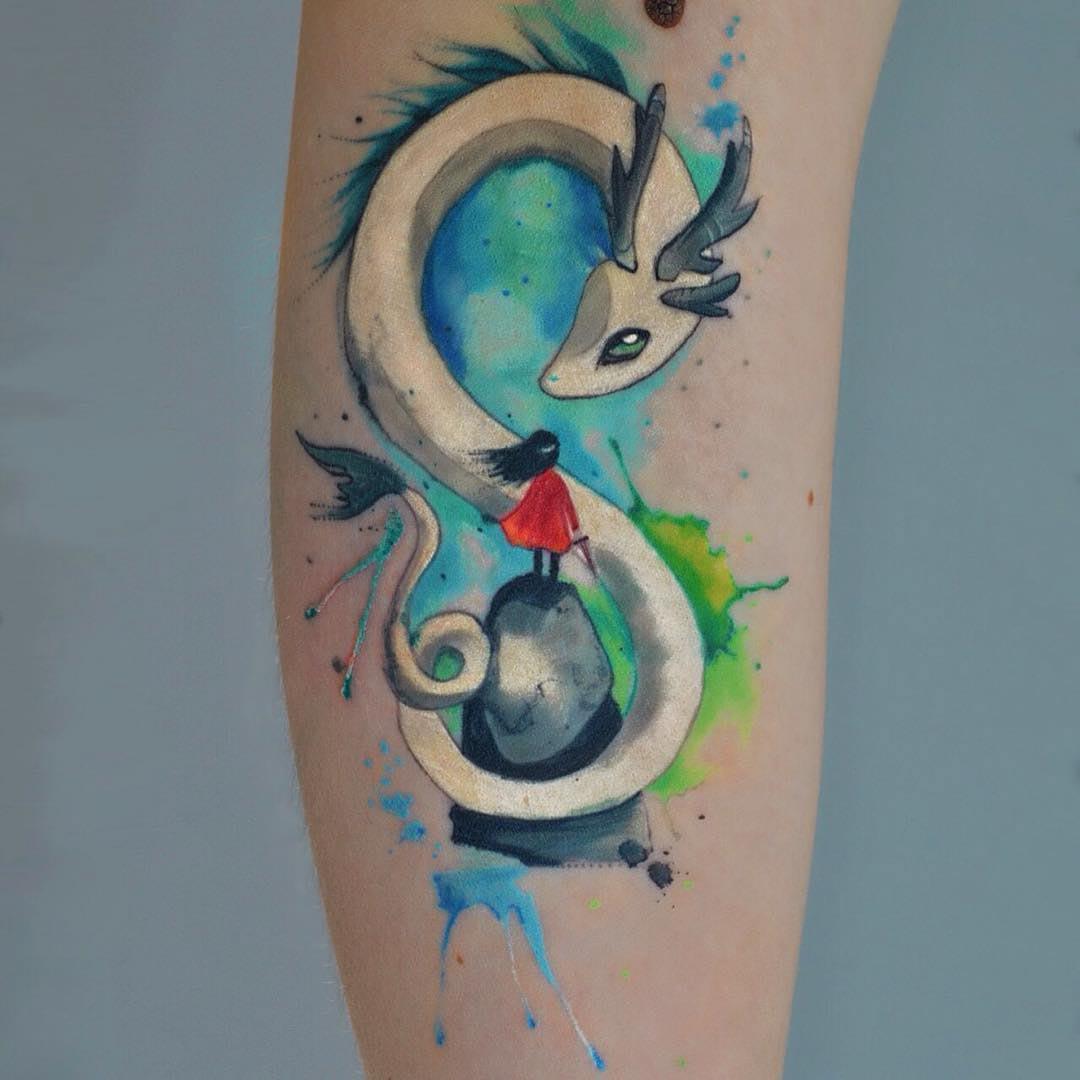dragon magic tattoo watercolor