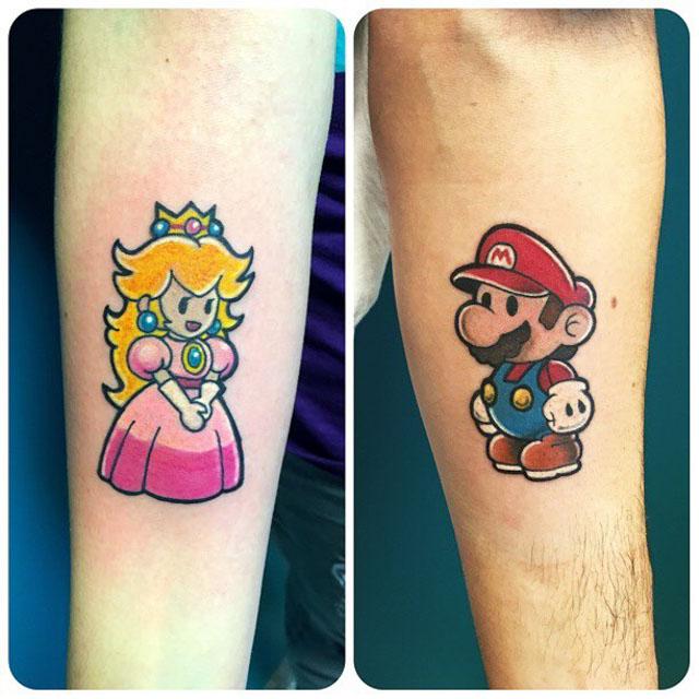 Mario and Princess Peach Tattoos
