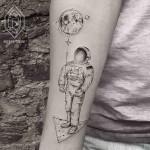 Moon Balloon Astronaut Tattoo