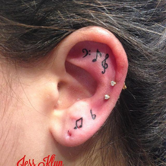 Music Note Tattoo Ear by at jessklyn