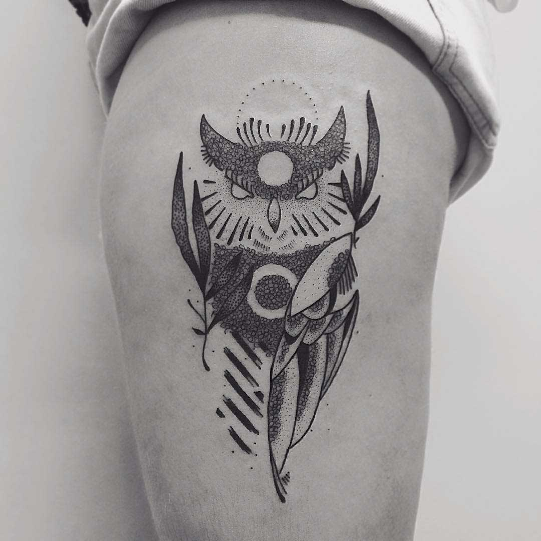 hip tattoo dotwork