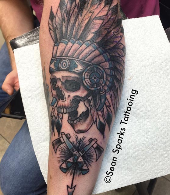Skull and Axes Indian Tattoo by SeanSparksElectricTattooing